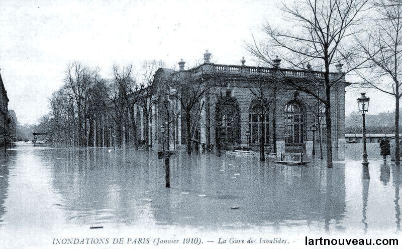 Gare des Invalides  - 1910 durant l'inondation