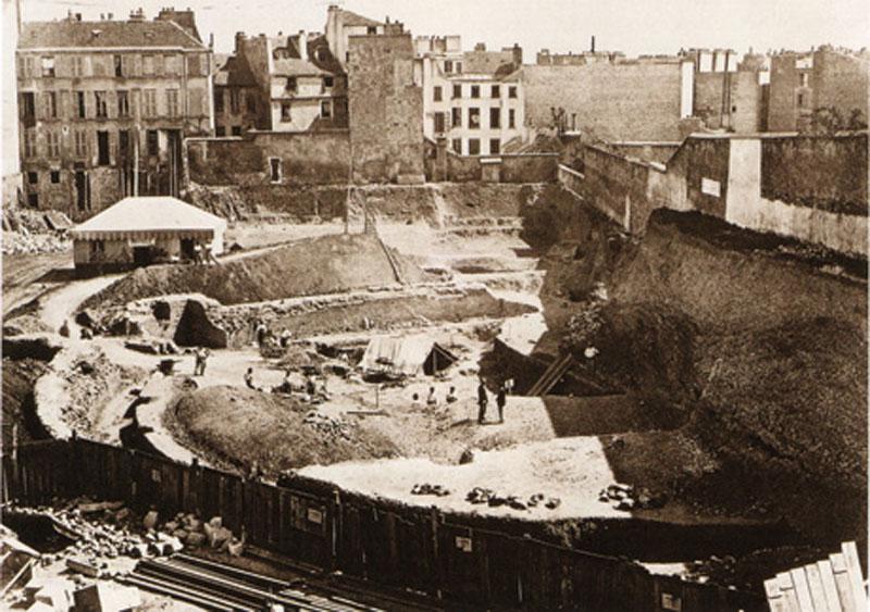 Excavation des Arènes de Lutèces en 1869
