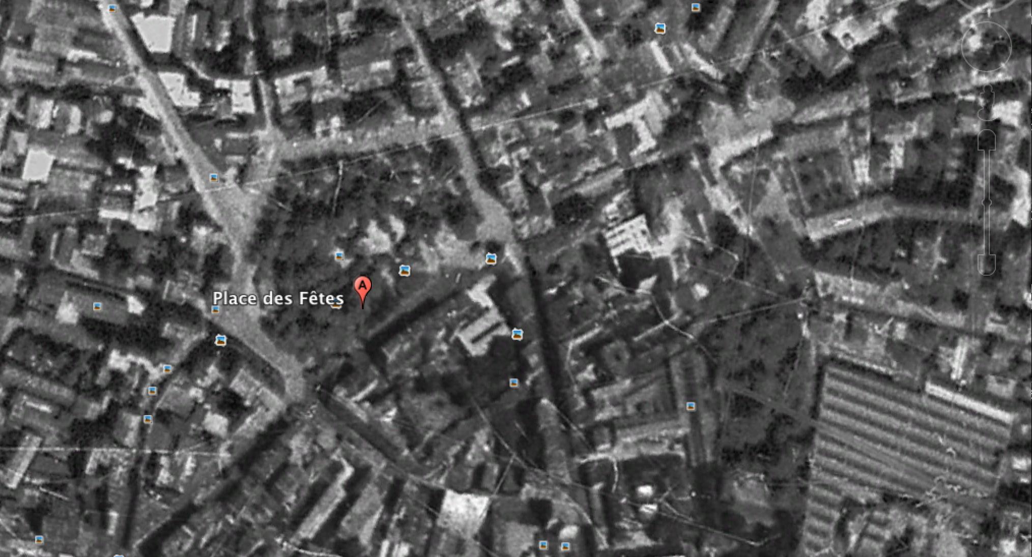 Place des Fêtes 1949 - Google Earth