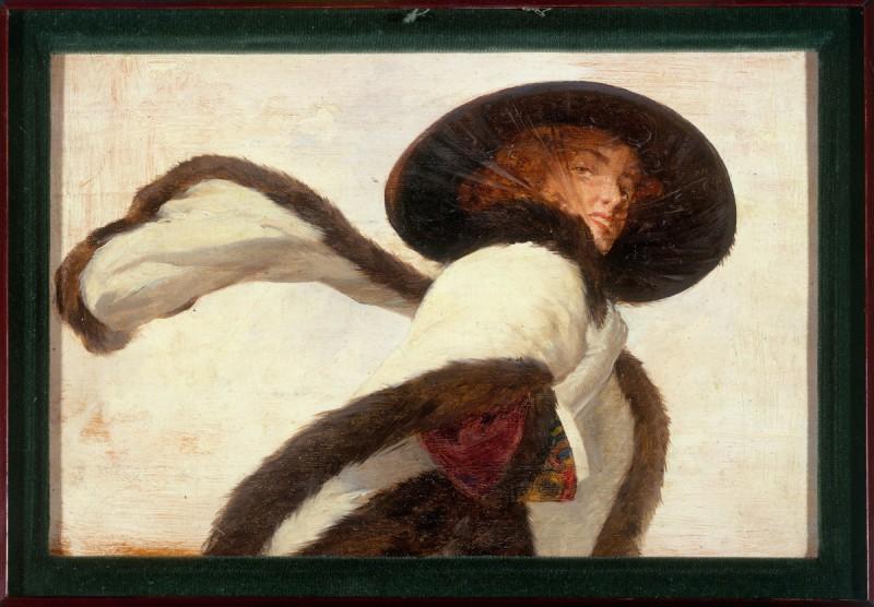 """Anonyme. """"Femme au chapeau noir et ‡ l'Ècharpe"""". Huile sur bois. Paris, musée Carnavalet."""