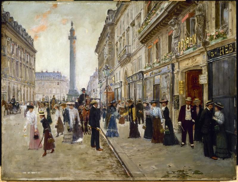 """Jean Béraud (1849-1936). """"Sortie des ouvrières de la maison Paquin, rue de la Paix, vers 1902"""". Huile sur bois. Paris, musée Carnavalet."""