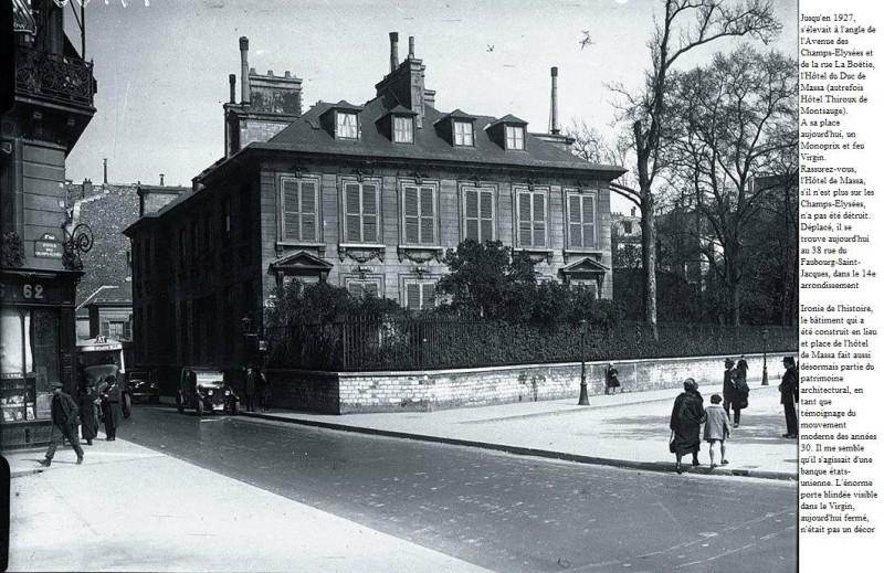 Hôtel de Massa à son emplacement d'origine sur les Champs Élysées - Merci au Centaure Urbain pour cette jolie contribution