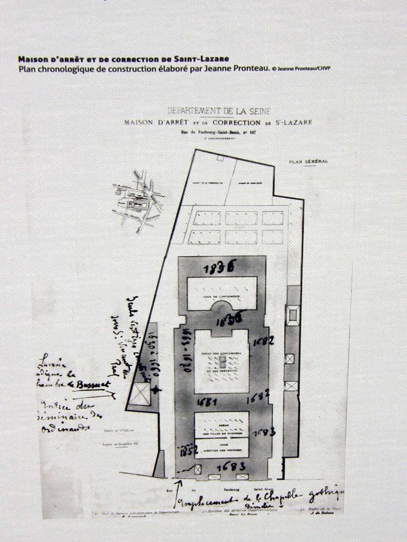 St. Lazare prison, with dates added of construction