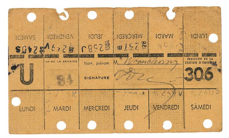 Carte hebdomadaire de travailleur- 1941