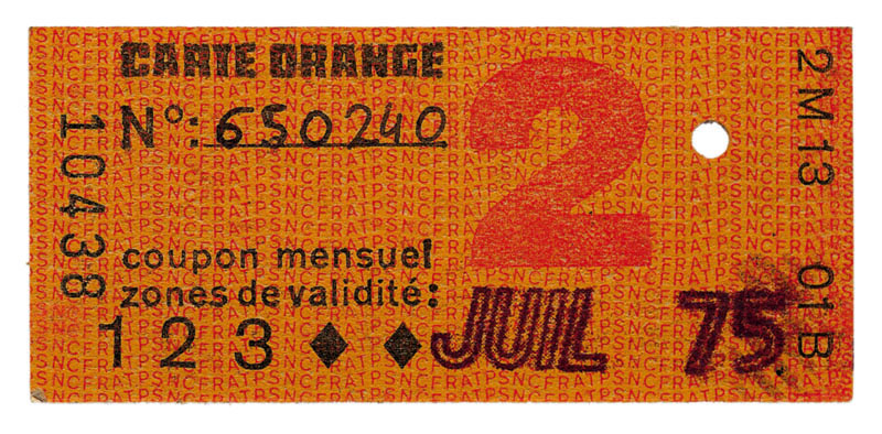Carte orange 2e classe - 1975